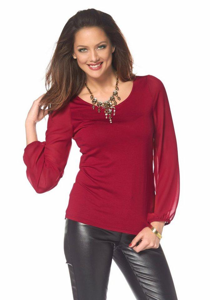 Melrose Blusenshirt mit Chiffonärmeln in rot