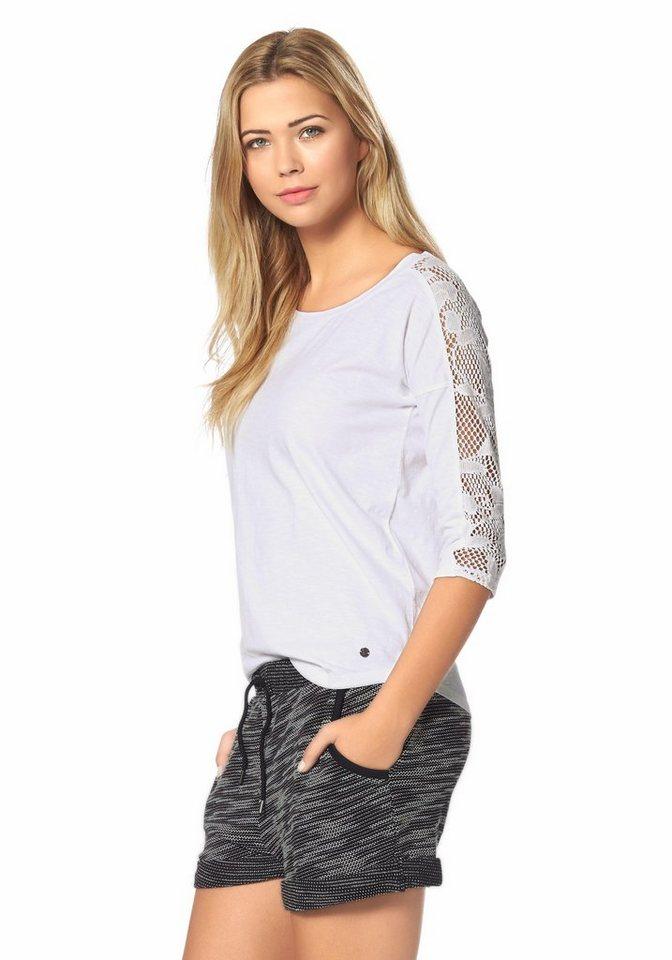 AJC 3/4-Arm-Shirt mit eingesetzter Spitze in weiß