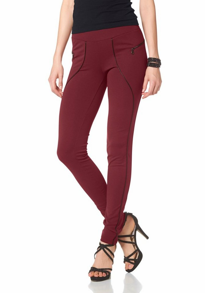 Melrose Treggings mit Kontrast-Paspel in bordeaux