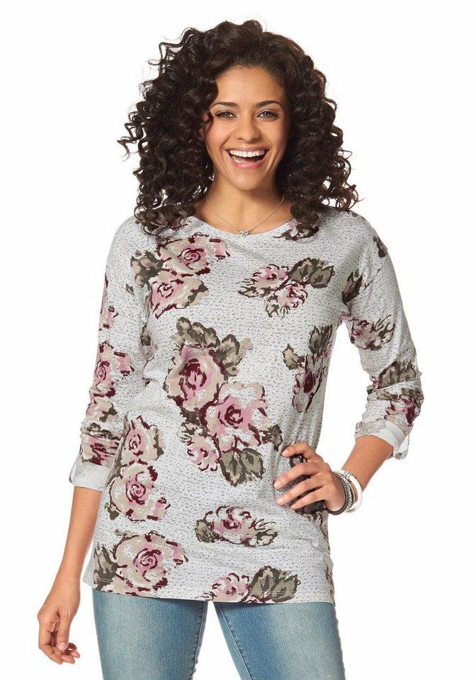 Boysen's Longshirt mit Blumendruck in wollweiß-bedruckt
