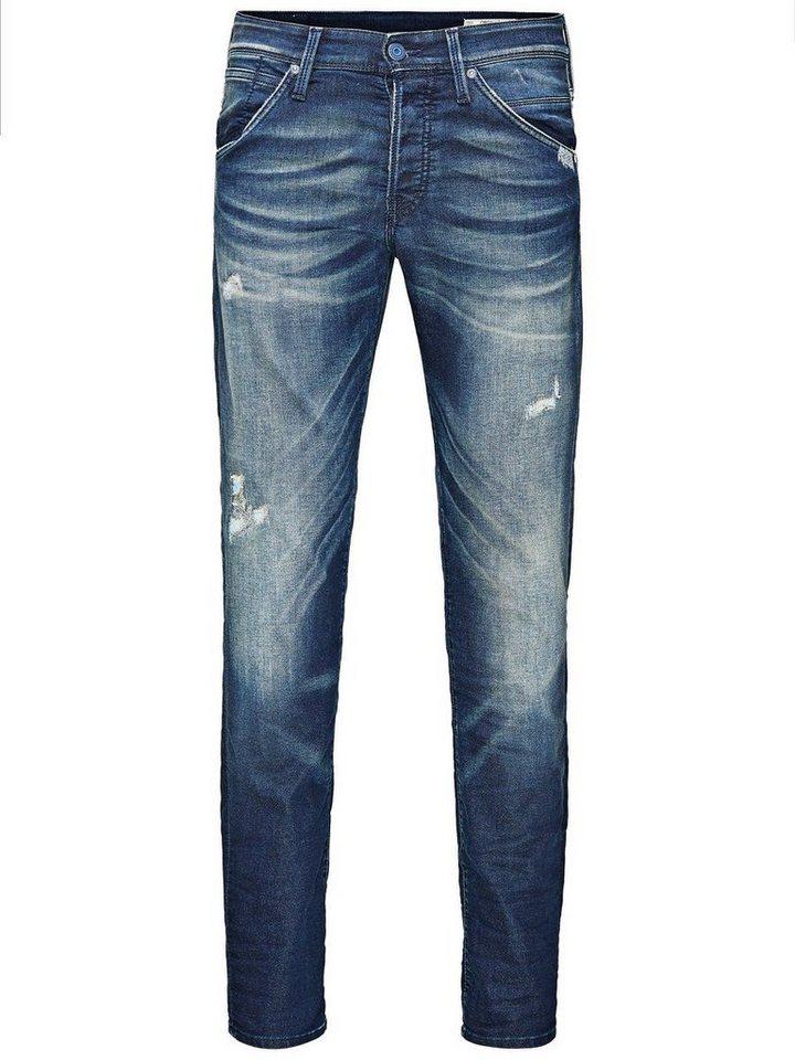 Jack & Jones Glenn Fox BL 469 Indigo-Strick Slim Fit Jeans in Blue Denim