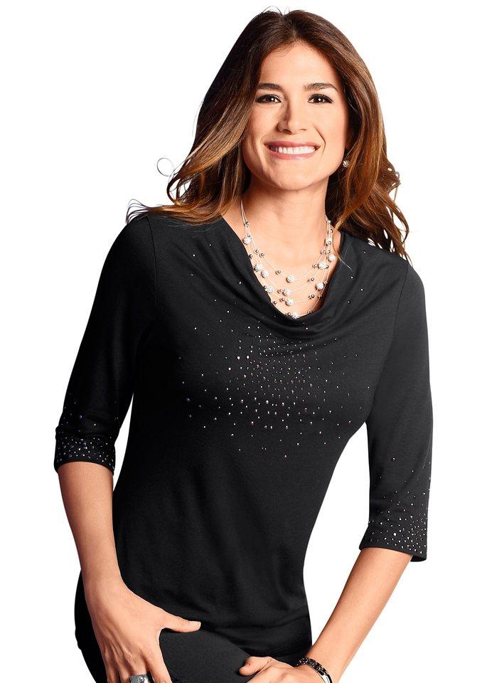 Lady Shirt mit funkelnden Metallplättchen in schwarz