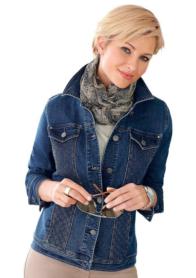 Collection L. Jeansblazer mit modisch abgesteppten Partien im Vorderteil in blue-stone-washed