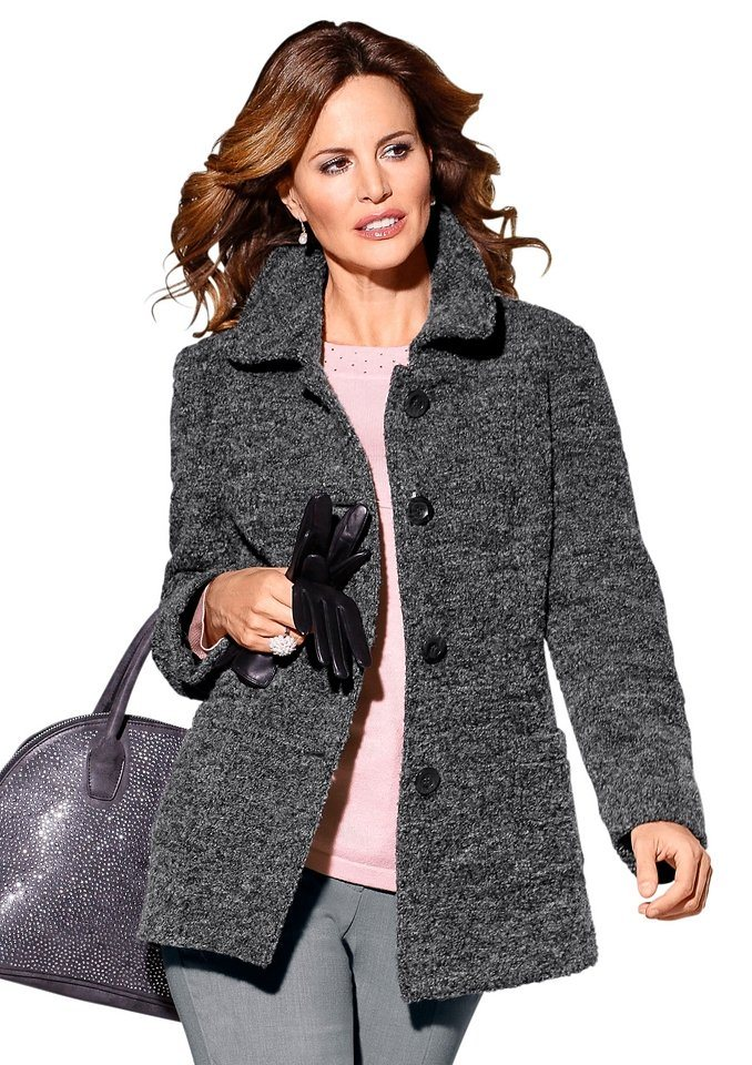 Wega Fashion Woll-Jacke in anthrazit-meliert