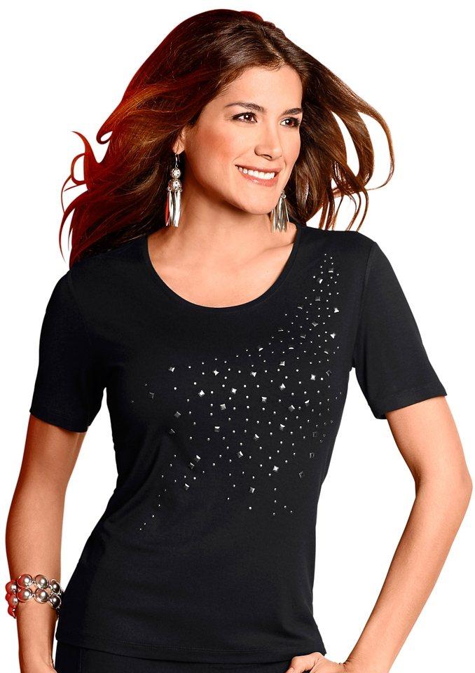 Lady Shirt mit asymmetrischer Metallplättchen-Verzierung in schwarz