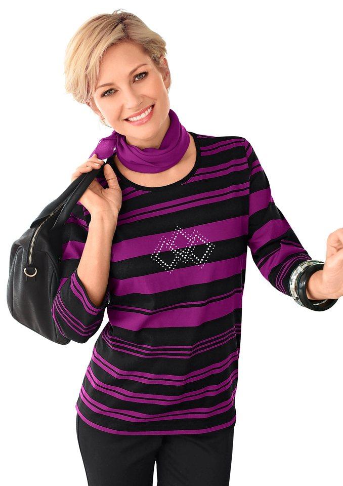 Collection L. Shirt mit effektvollen Metallplättchen in fuchsia-schwarz-gestreift