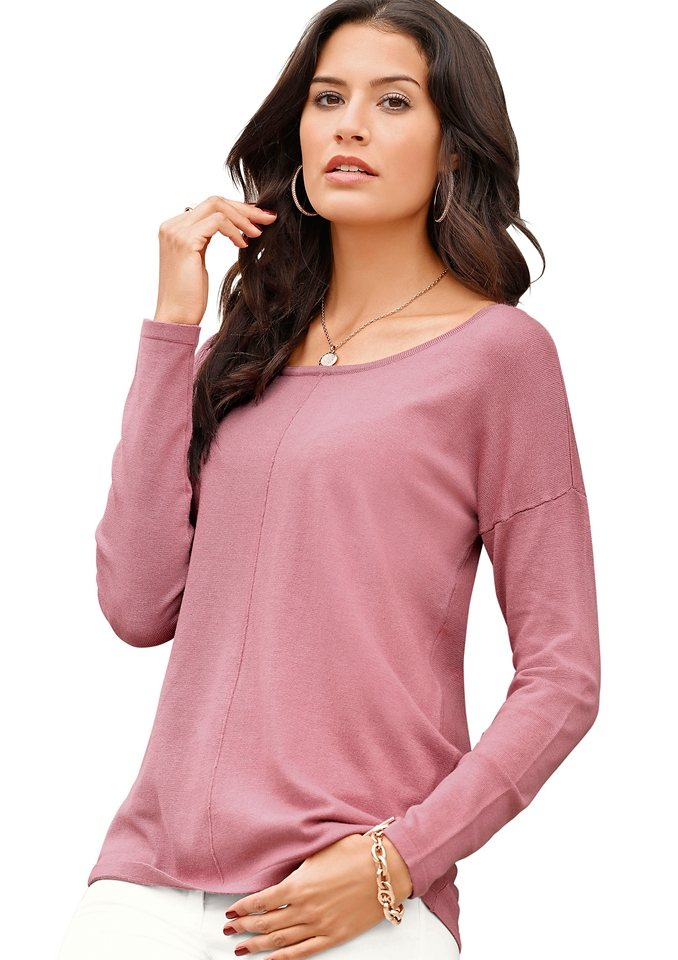 Création L Pullover mit langen Ärmel in rosé