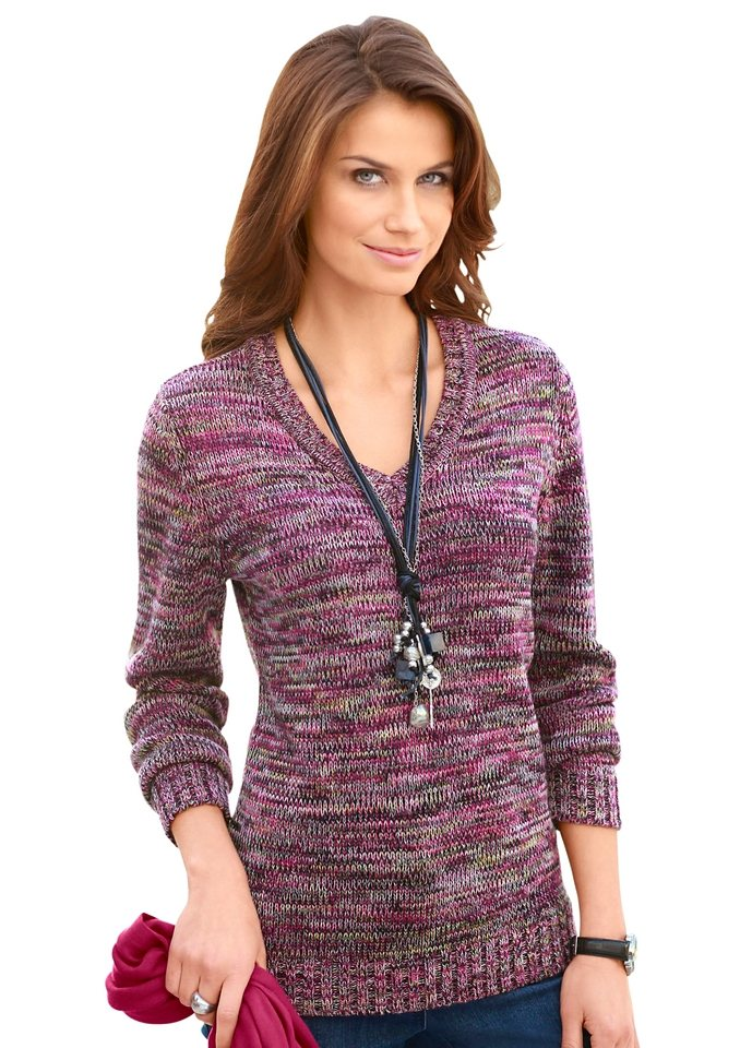 Collection L. Pullover in farbenfroher Melange-Optik in fuchsia-meliert
