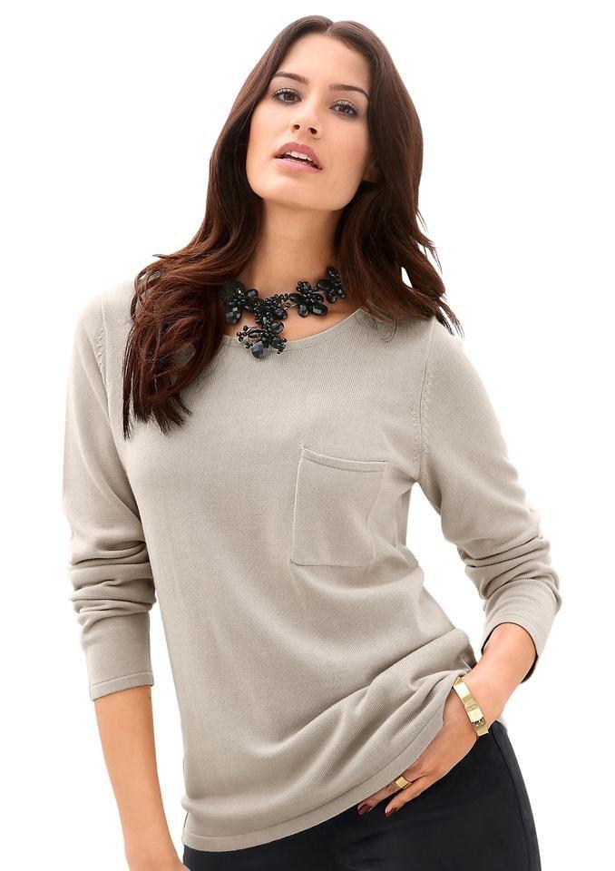 Création L Pullover mit langen Ärmeln in beige