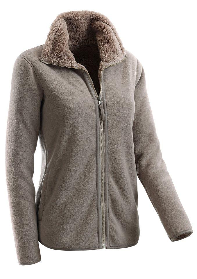 Collection L. Fleece-Jacke mit flauschig weichem Futter in taupe
