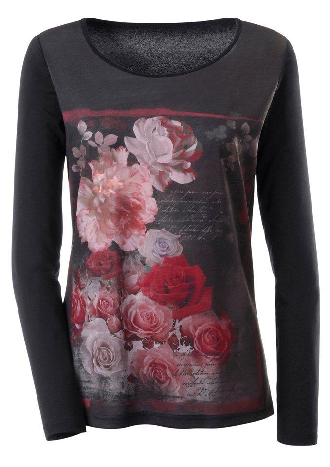 Ambria Longshirt mit Rundhals-Ausschnitt in schwarz-gemustert