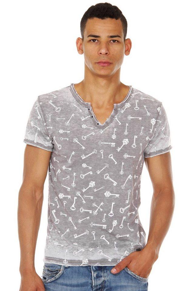 R-NEAL Henley T-Shirt slim fit in grau