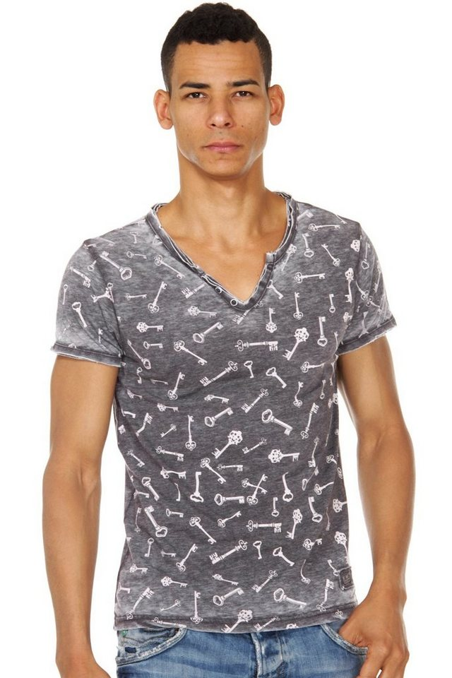 R-NEAL Henley T-Shirt slim fit in anthrazit