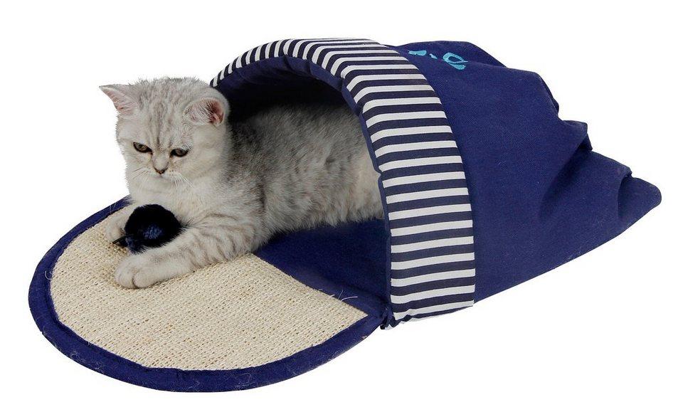 Katzen-Kuschelschuh »Ocean-Style« in blau/weiß