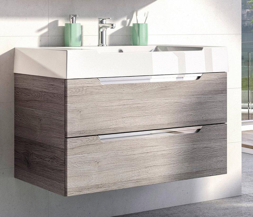 Mineralgussmarmor Waschtisch / Waschbecken »Solitaire 7020« 86 cm in weiß