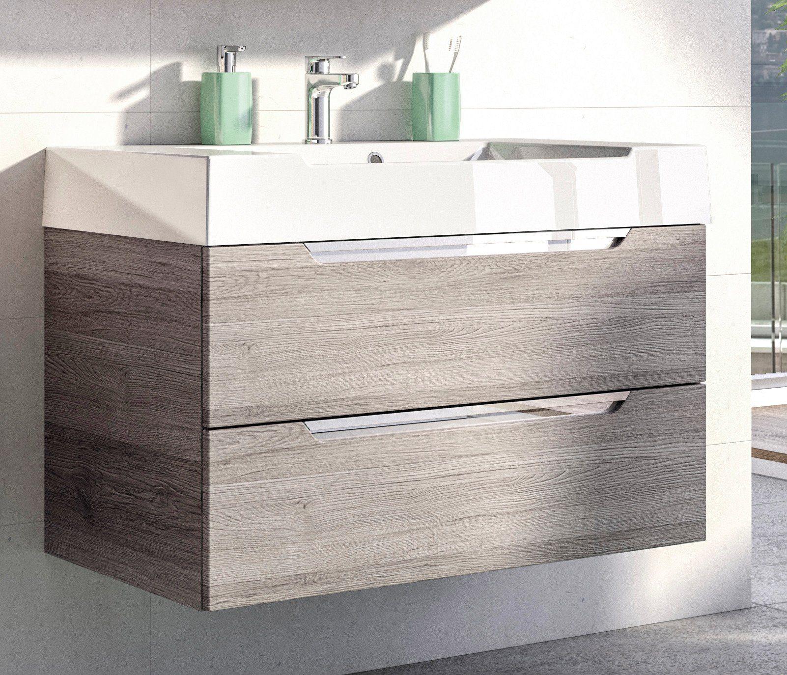 Mineralgussmarmor Waschtisch / Waschbecken »Solitaire 7020« 86 cm