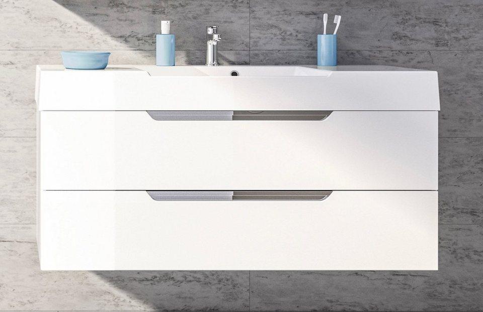 Mineralgussmarmor Waschtisch / Waschbecken »Solitaire 7020« 120 cm in weiß