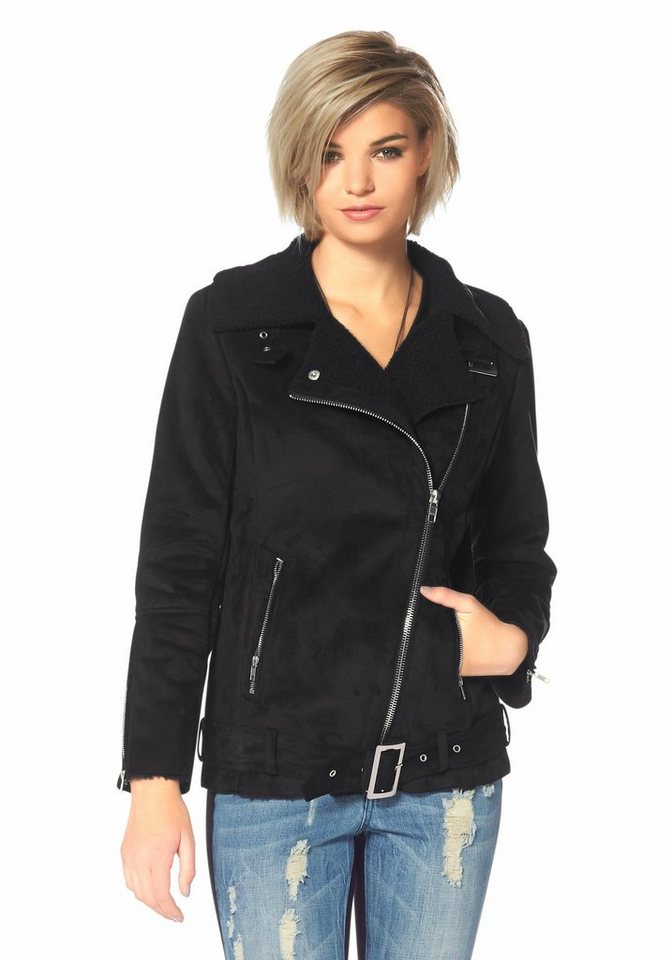 Laura Scott Fellimitatjacke Lammfelloptik in schwarz
