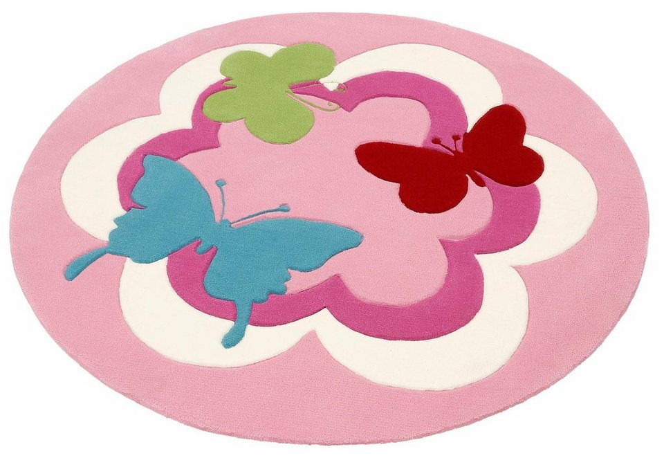 Kinderteppich blume  Kinder-Teppich, Esprit, Rund, »Butterfly Party«, handgetufted ...