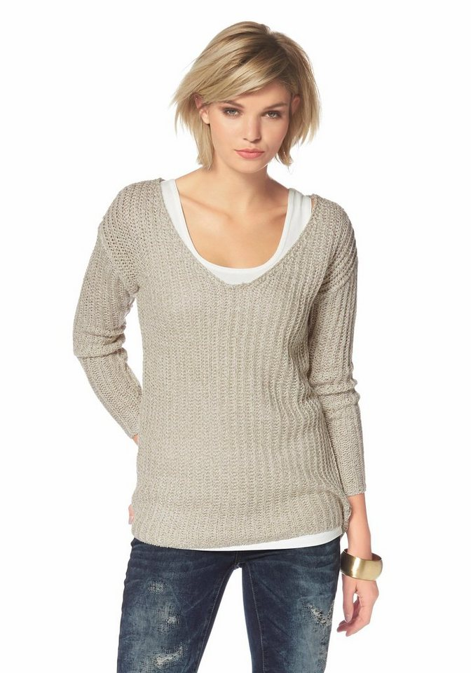 Laura Scott V-Ausschnitt-Pullover mit Glanzgarn in beige