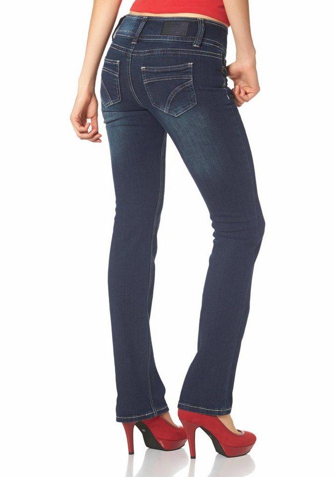 Arizona Straight-Jeans mit Kontrastnähten in dark-blue-used