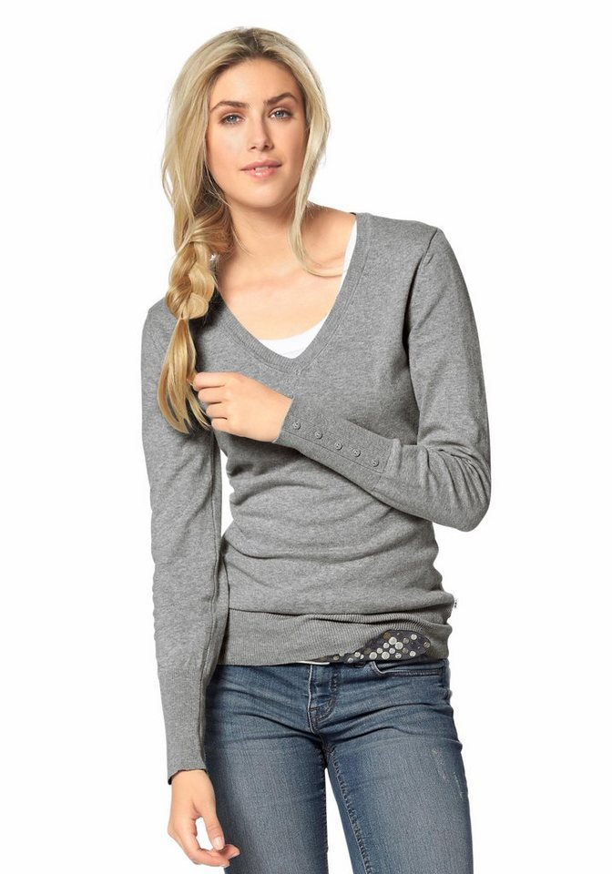 Flashlights V-Ausschnitt-Pullover in grau-meliert