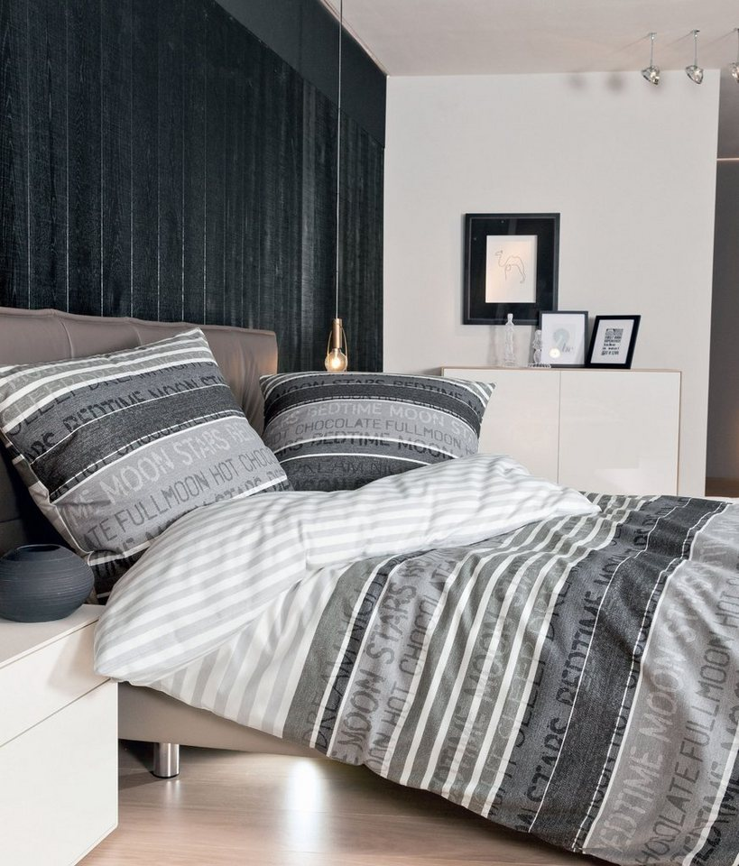 bettw sche janine moon stars mit schriftz gen online kaufen otto. Black Bedroom Furniture Sets. Home Design Ideas