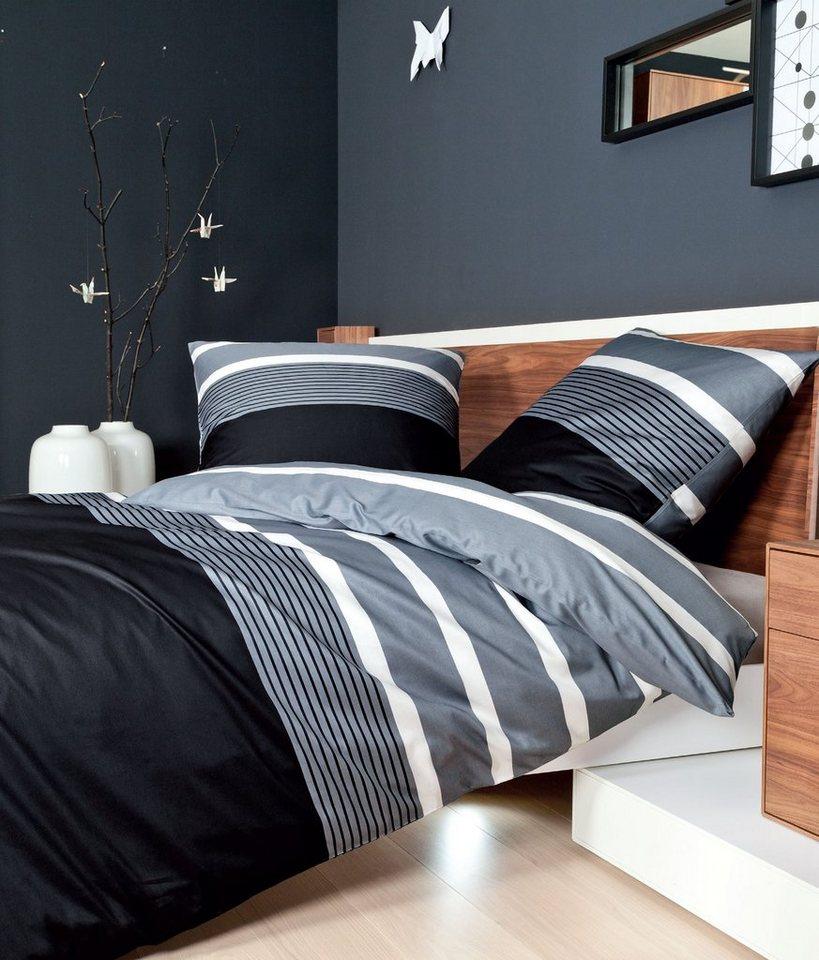 Bettwäsche, Janine, »Querstreifen «, mit breiten Streifen in grau-schwarz