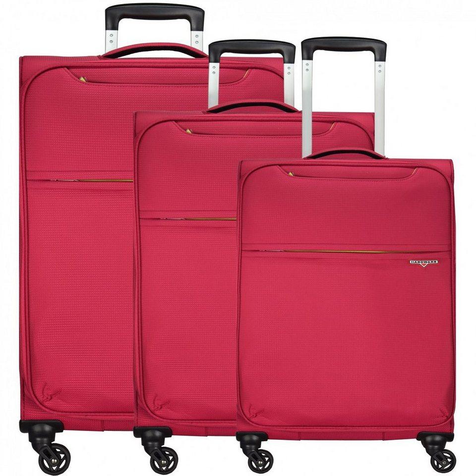 Hardware XLight 4-Rollen Trolley Kofferset 3-tlg. in pink