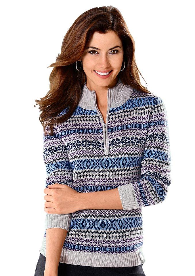 Classic Basics Pullover in pflegeleichter Qualität in grau-gemustert