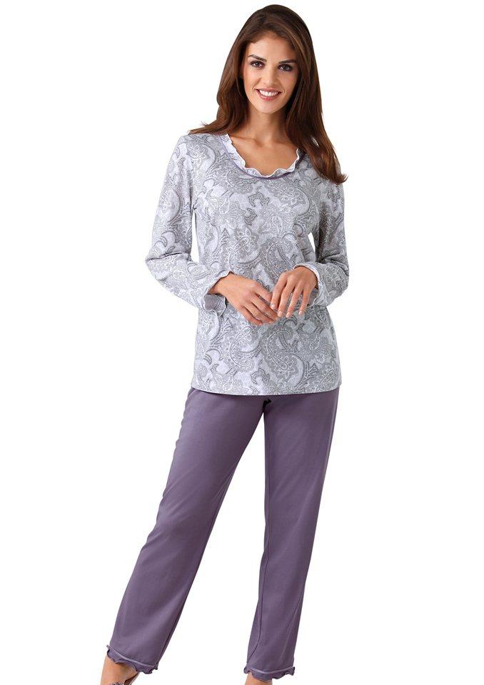 Schlafanzug, Ascafa in lavendel-weiß