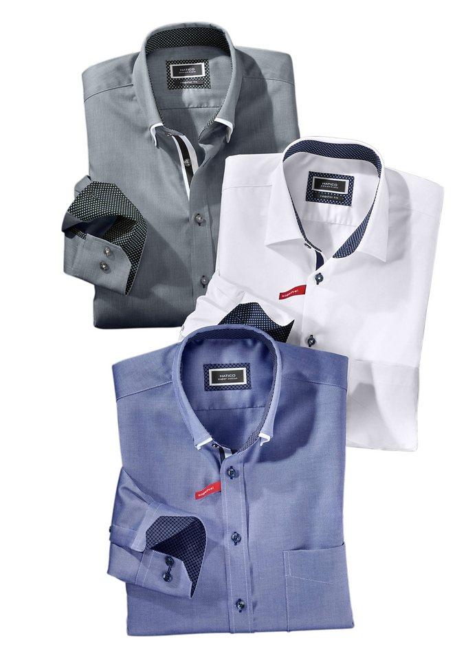 Hatico Hemd mit Doppelkragen in grau