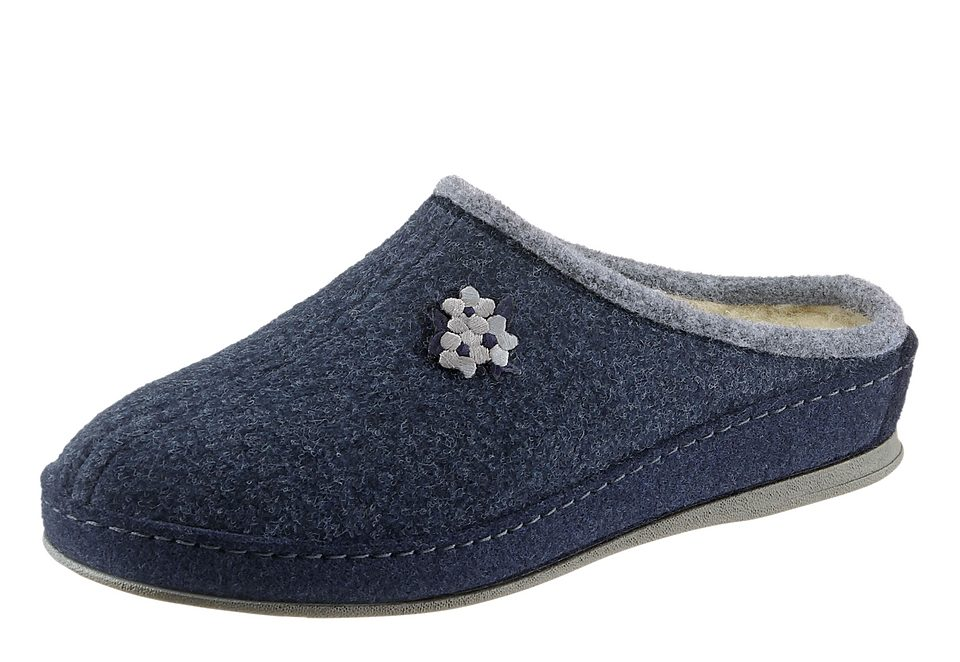 SCHAWOS Schawos Pantoffel mit anatomisch geformtem Fußbett, blau, gefüttert, blau