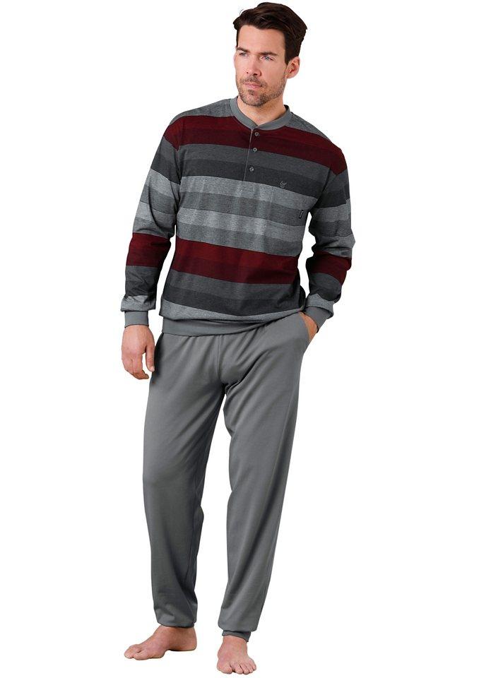 Schlafanzug, Hajo in grau-rot-gestreift