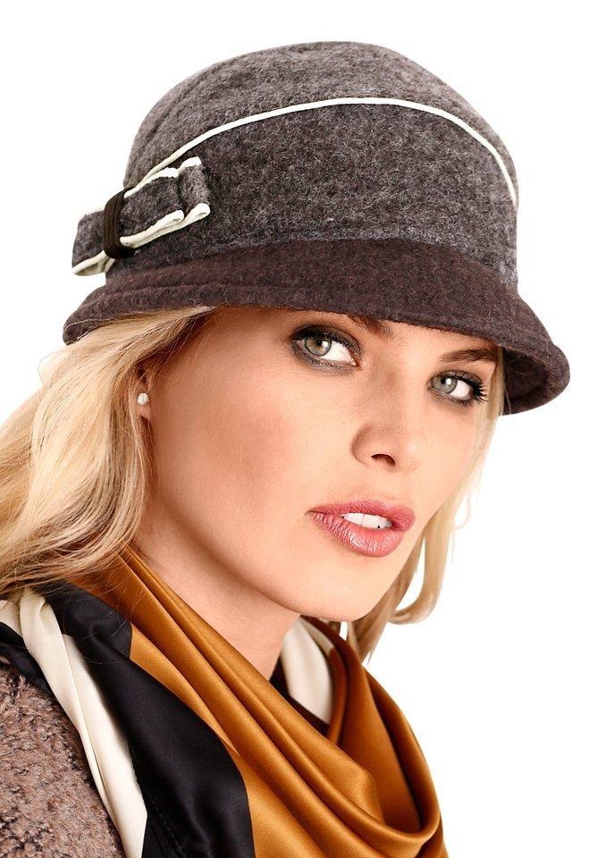 Wegener Mütze mit seitlicher Schleife in braun