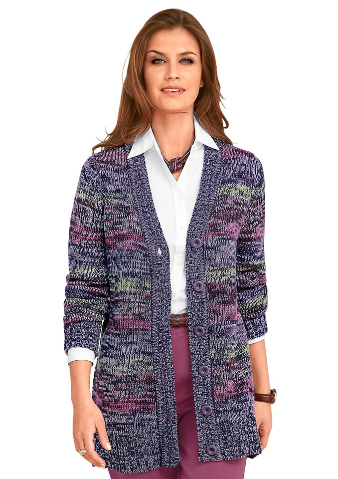 COLLECTION L. Strickjacke im tollen Melange-Farbmix in lila-meliert