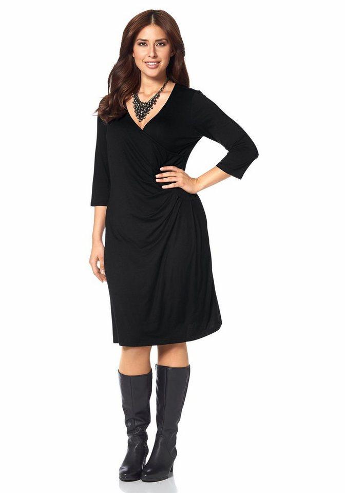 Apart Jerseykleid Plus Size Wickel-Optik in schwarz