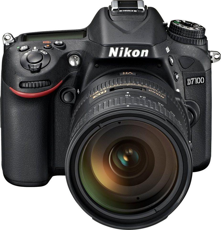Nikon D7100 Kit AF-S DX 18-200G VR II Spiegelreflex Kamera, Zoomobjektiv Zoom, 24,1 Megapixel in schwarz