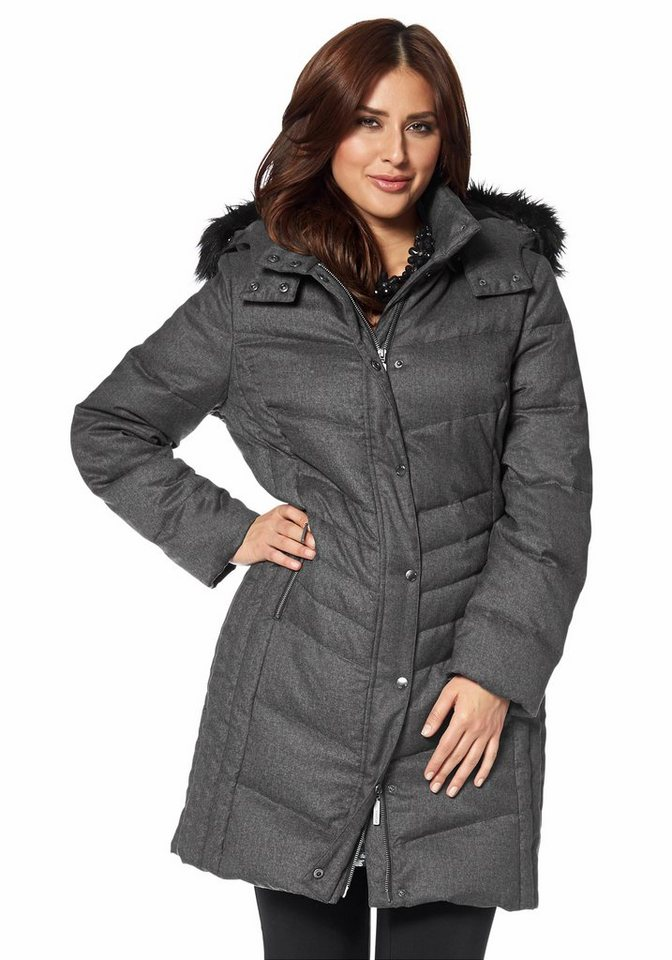 Apart Daunenmantel Plus Size kuschelig warm in anthrazit