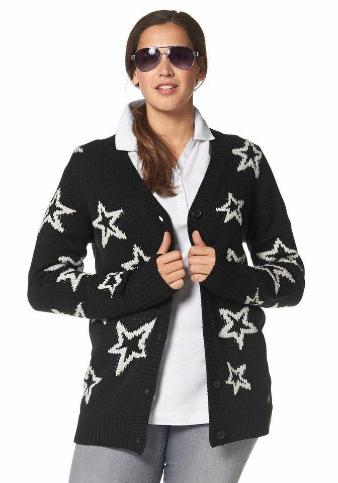 Kangaroos Strickjacke Sternenmuster in schwarz-gemustert