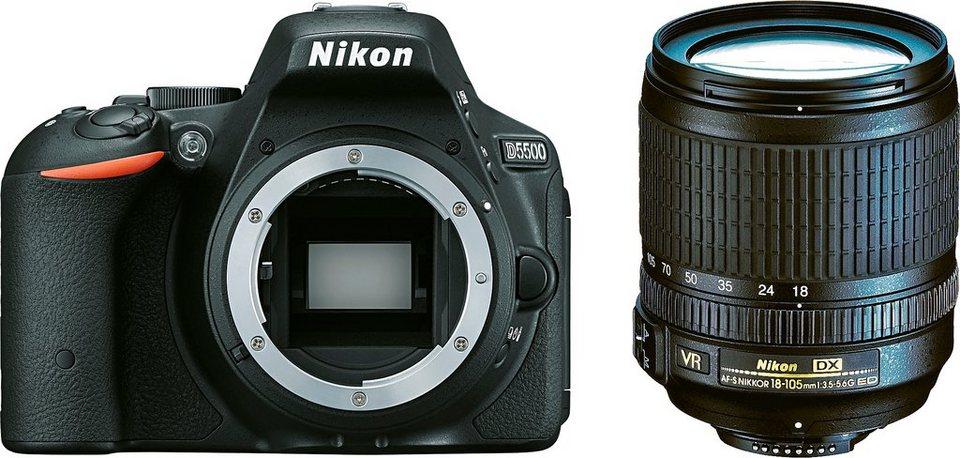 Nikon D5500 Kit DX 18-105 VR Spiegelreflex Kamera, Zoomobjektiv Zoom, 24,2 Megapixel in schwarz