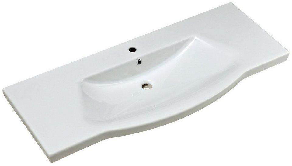 Keramik Waschtisch / Waschbecken »Solitaire« 120 cm in weiß