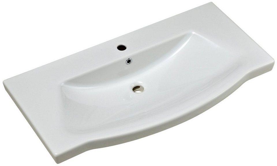 Keramik Waschtisch / Waschbecken »Solitaire« 97 cm, inkl. Ab- und Überlaufgarnitur in weiß