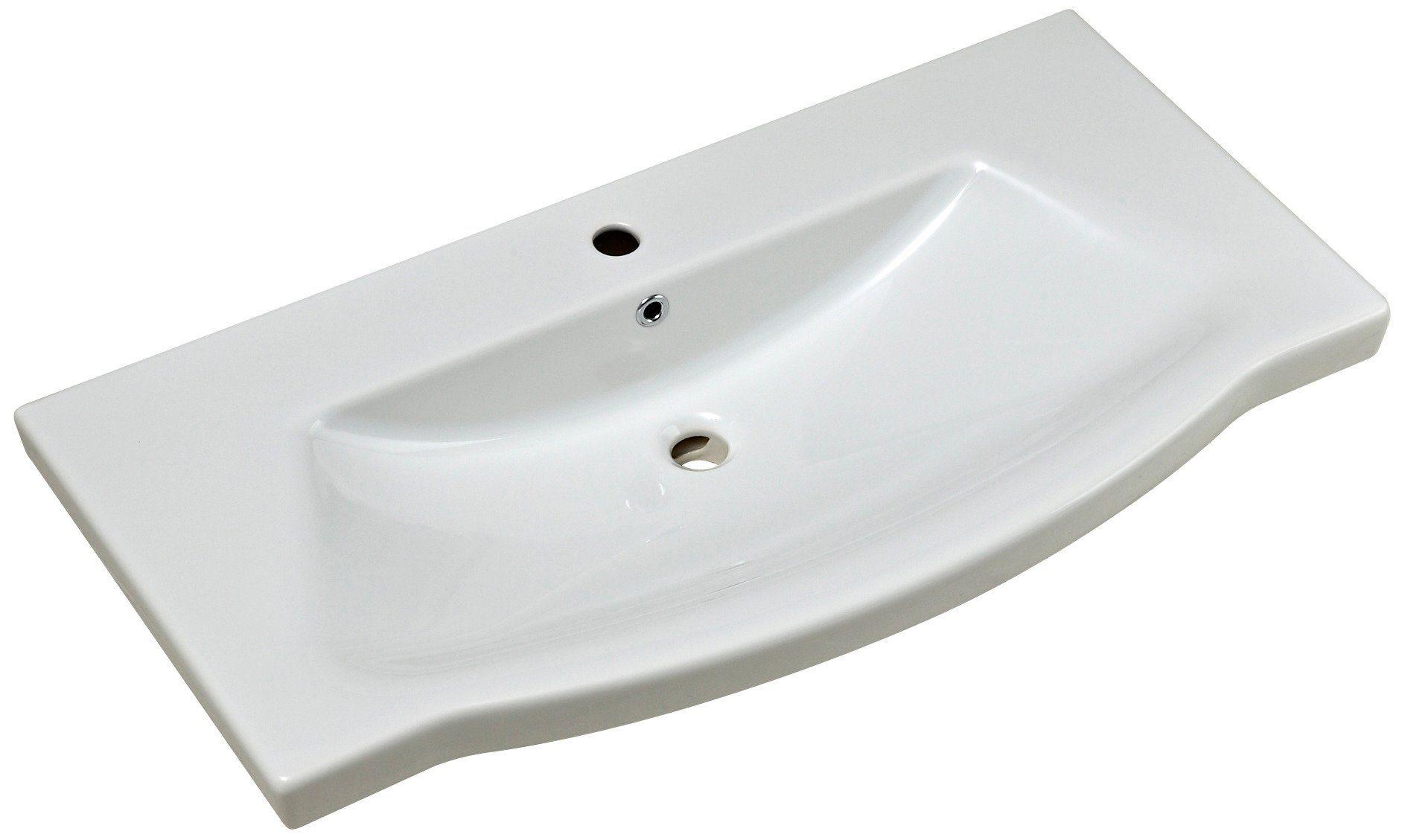 Keramik Waschtisch / Waschbecken »Solitaire« 97 cm, inkl. Ab- und Überlaufgarnitur
