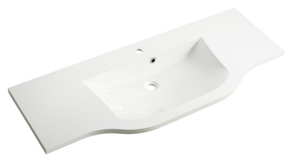 Mineralgussmarmor Waschtisch / Waschbecken »Contea« 128 cm in weiß