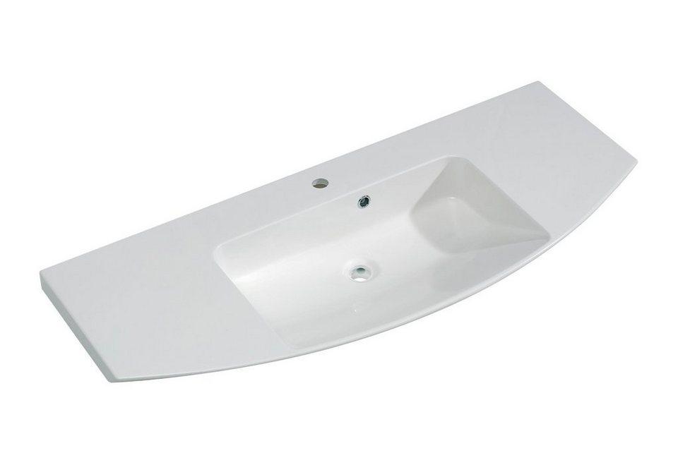 Mineralgussmarmor Waschtisch / Waschbecken »Cassca« 121 cm in weiß