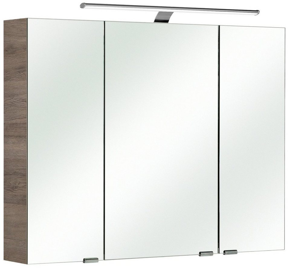 Spiegelschrank »Solitaire 6005« Breite 90 cm, mit LED-Beleuchtung in eichefarben