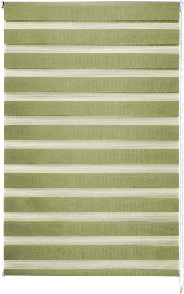 Doppelrollo im Wunschmaß, Good Life, » Kena«, 25mm Welle für Breiten bis 160cm in grün