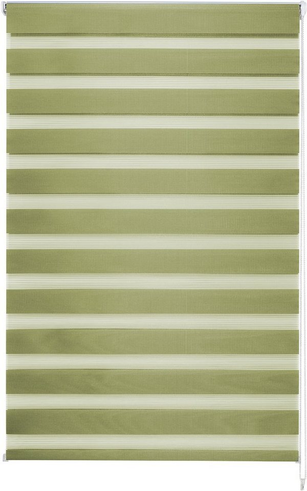Doppelrollo im Wunschmaß, Good Life, » Kena«, 36mm Welle für Breiten bis 210cm in grün