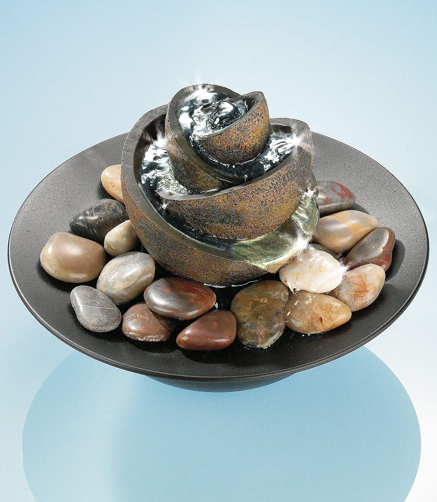 Zimmerbrunnen »Flower«, mit Steinen